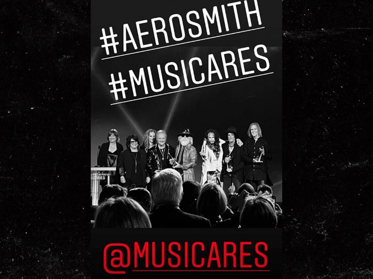 Aerosmith Accepts MusiCares Award with Joey Kramer Onstage