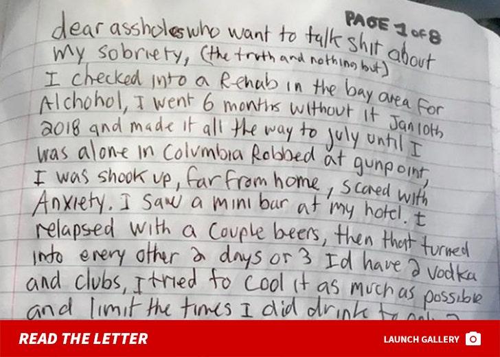 Bam Margera's Rehab Letter