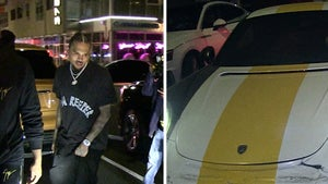 Chris Brown Leaves in Damaged Porsche After Valet Traffic Accident