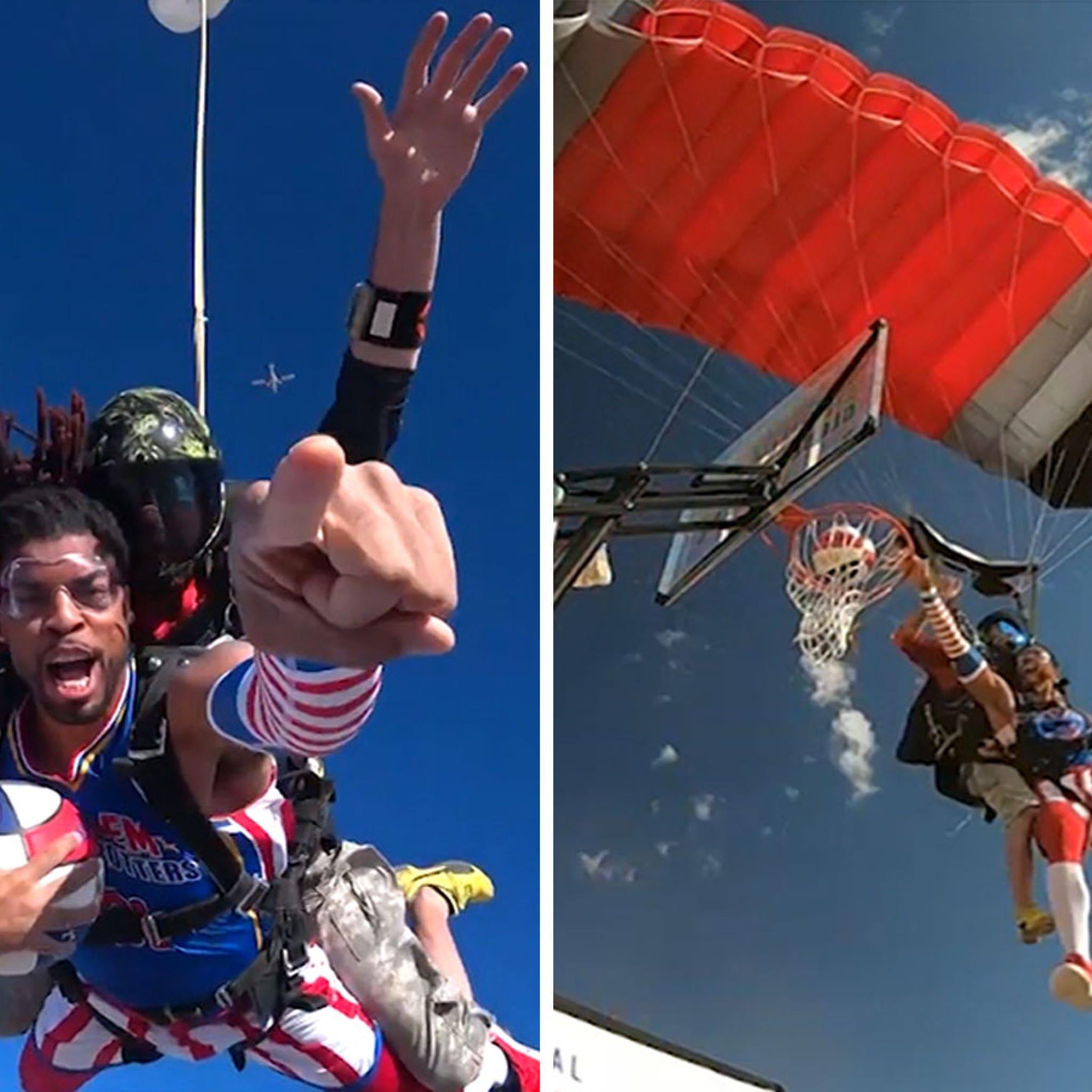 Harlem Globetrotters Land 13,000-Ft. Slam From The Sky, Highest Dunk Ever!