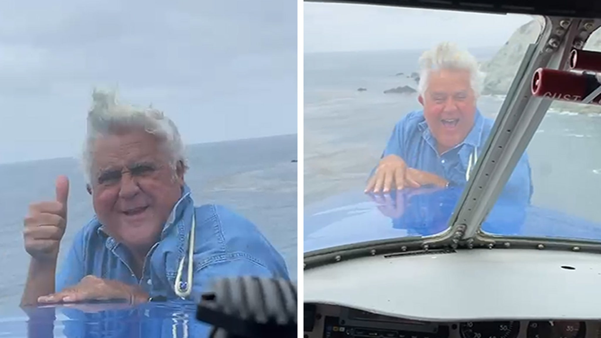 Jay Leno Hangs on Front of Airplane in Wild Video thumbnail