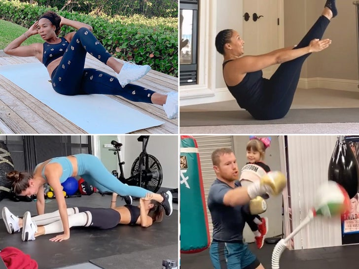 Celebrity Quarantine Workouts -- At Home Gyms!
