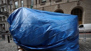 Wall Street's Charging Bull Covered in a Tarp, Fear of Attacks?