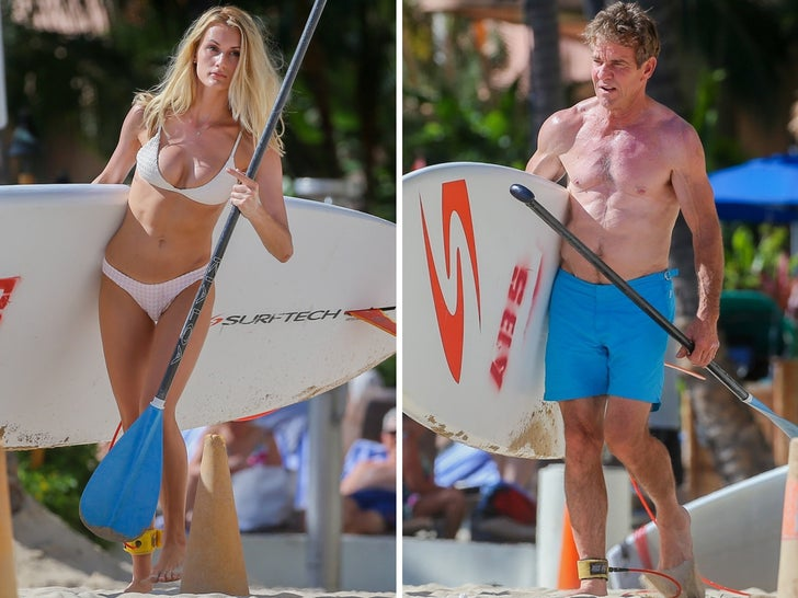 Dennis Quaid and Laura Savoie in Hawaii -- Getting A Good Paddling