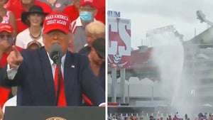 Trump and Supporters Sprayed with Fire Truck Water at Hot Tampa Rally