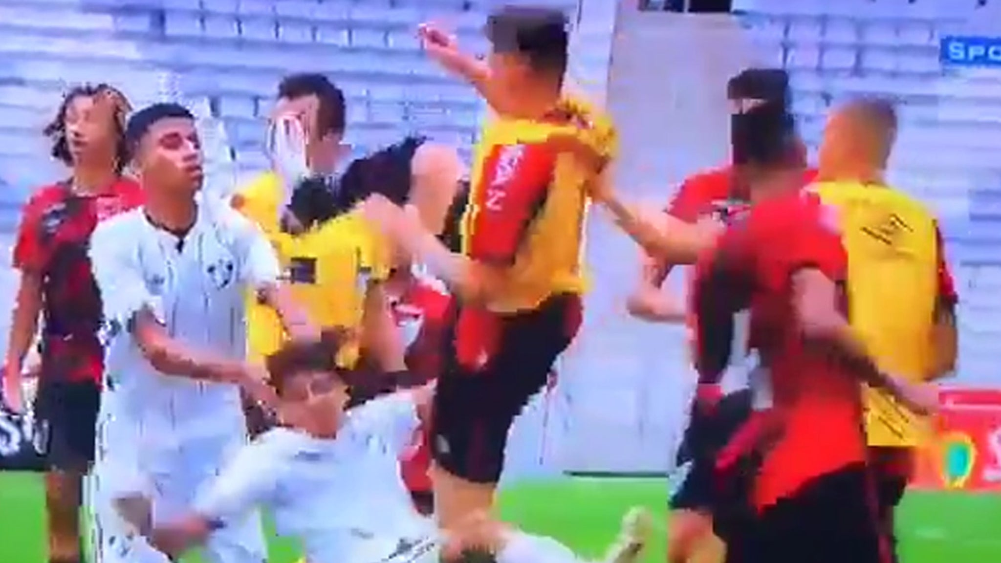 Teen Soccer Player Decked By Flying Karate Kick During Insane In-Game Brawl