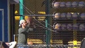Jason Sudeikis Puts His Basketball Skills on Display at Knott's Berry Farm