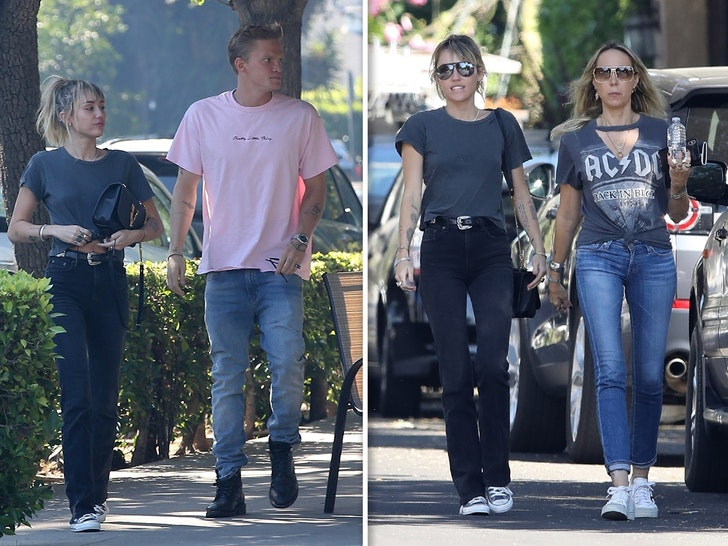 Miley Cyrus and Cody Simpson step out for breakfast with Tish Cyrus