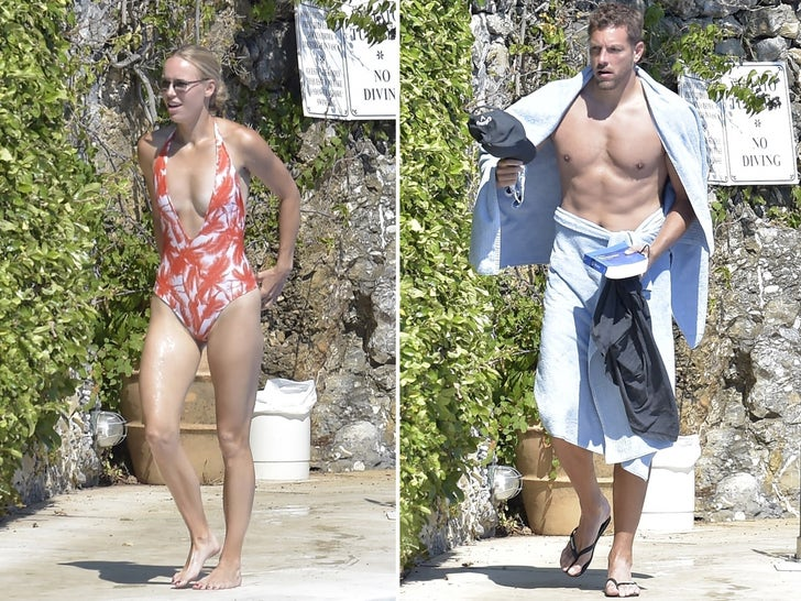 Caroline Wozniacki and David Lee -- Poolside in Portofino