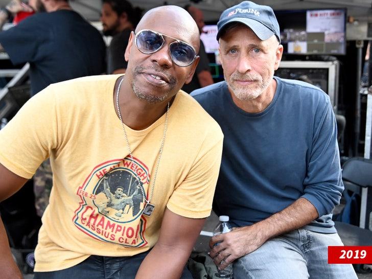 Dave Chappelle and Jon Stewart backstage