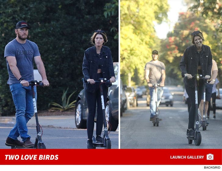 Chris Pratt and Katherine Schwarzenegger Riding Bird Scooters