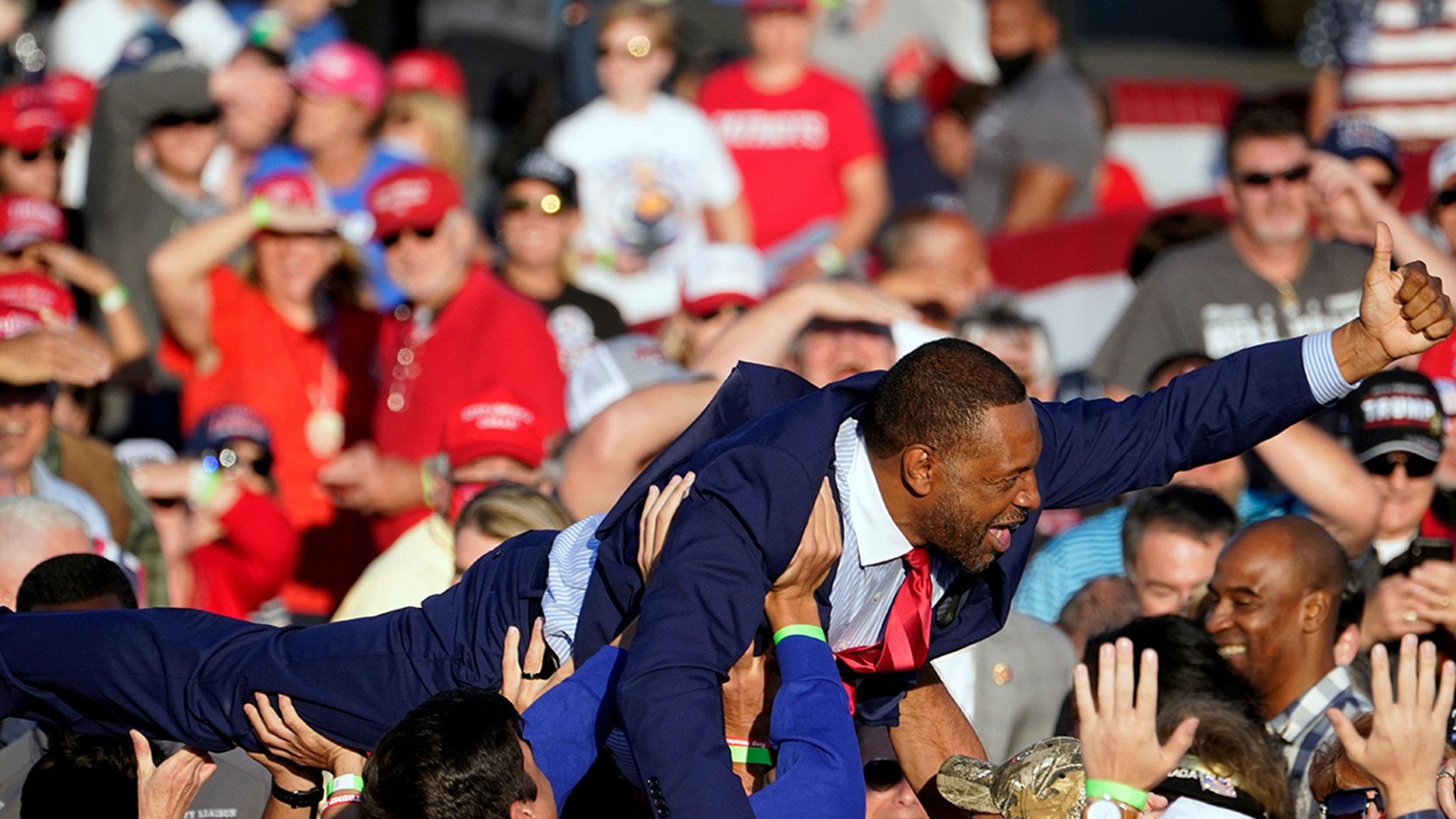 Georgia State Rep. Vernon Jones Crowd-Surfs During Trump Rally