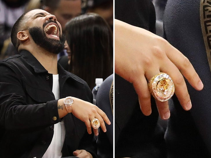 Drake Courtside At Raptors vs. 76ers -- Hotline Ring