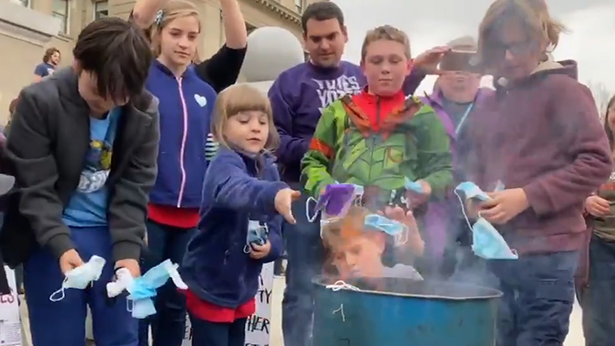 Idaho's #BurnTheMask Rally Sees Kids Tossing 'Em into Flames ... As State Moves Toward Banning Mask Mandates