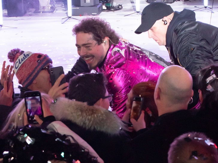 Post Malone takes a tumble during New Year's Eve performance