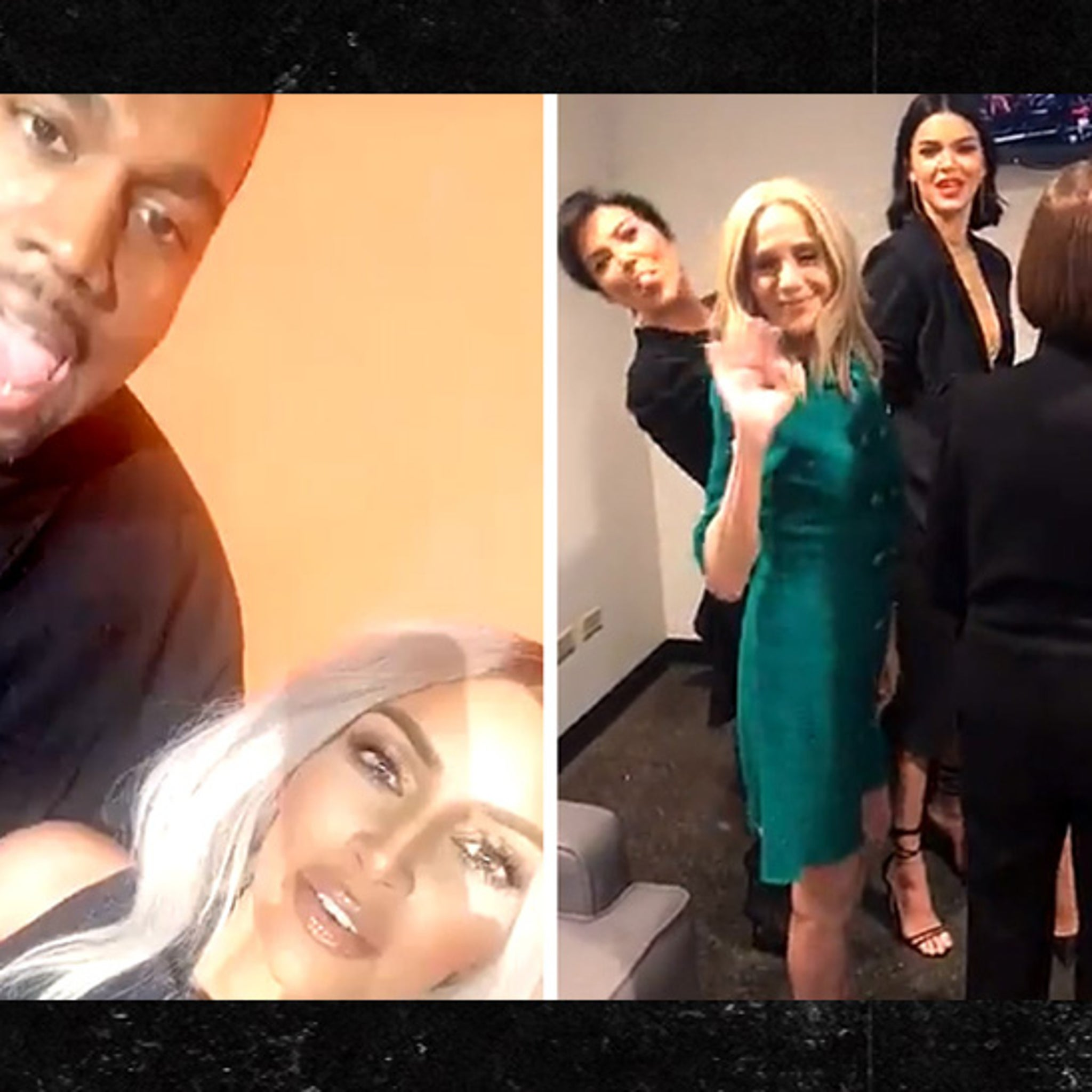4f74f53ca45 Kim Kardashian and Kanye West Up Against Kendall, Khloe and Kris for  'Family Feud' Taping