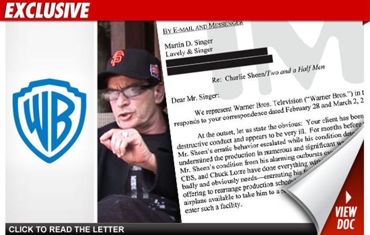 Charlie Sheen -- Read Warner Bros  Letter to Charlie Sheen