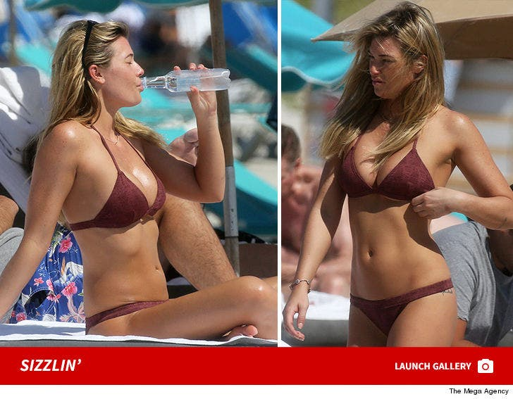 Samantha Hoopes Sizzles in Maroon Bikini