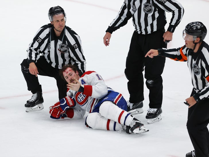 Brendan Gallagher Bleeding On The Ice