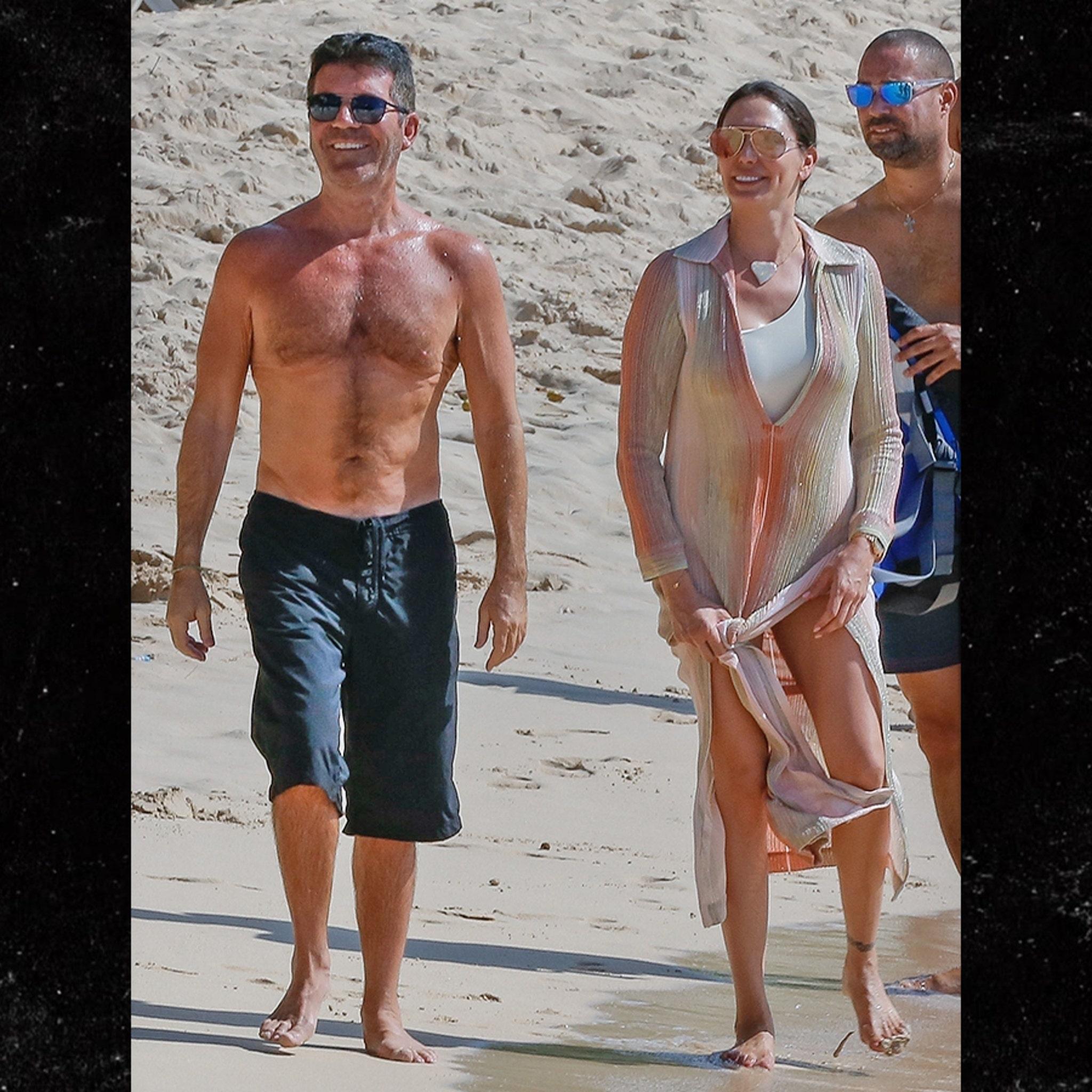 Simon Cowell Looking Slim With Gf Lauren Silverman In Barbados