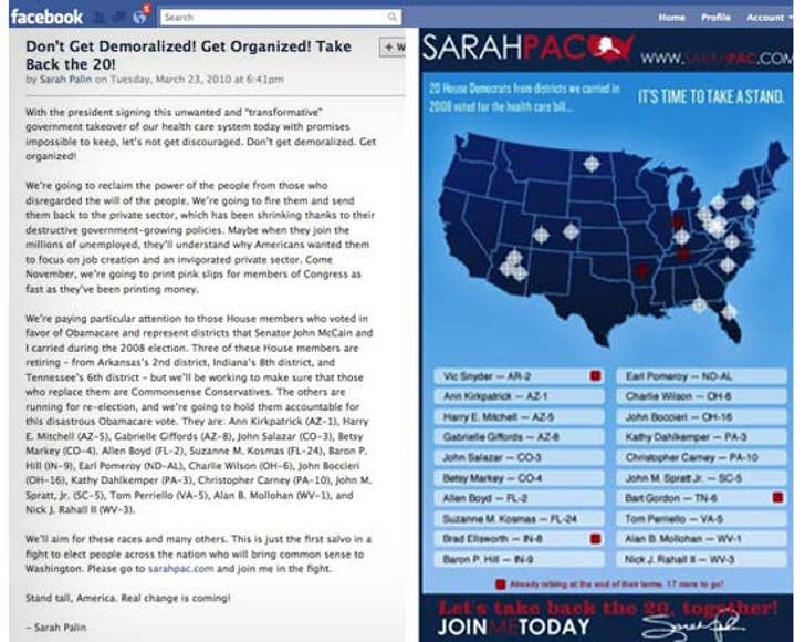 Sarah Palin's Crosshairs Map Still on Facebook on white map, election map, media map, pope map, abortion map, brown map, war map, miller map, religion map, nixon map, martin map, economy map, thomas map, pierce map, paris map, gray map,
