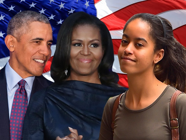 Barack Michelle and Malia Obama