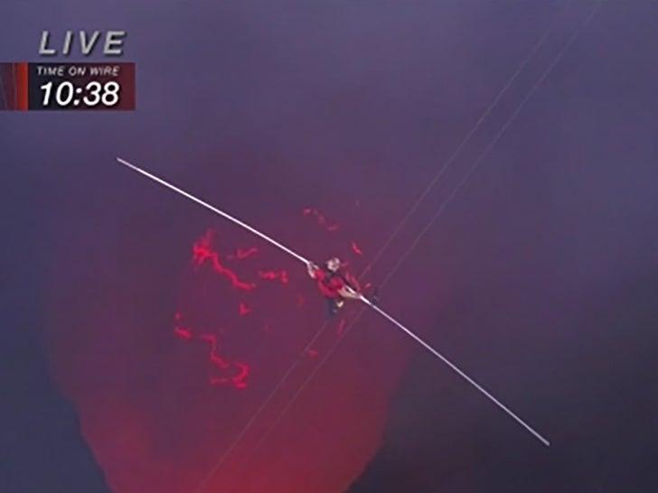 Nik Wallenda Tightrope Walks Across Active Volcano