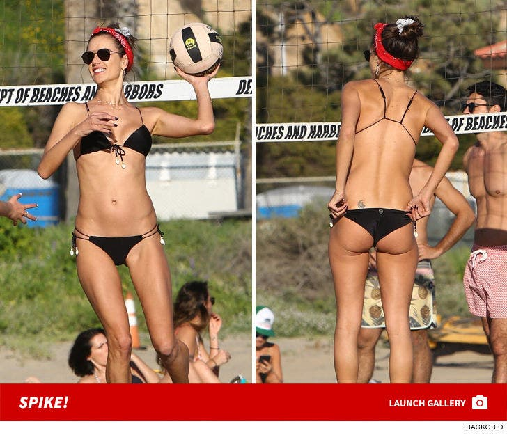 Alessandra Ambrosio Playing Beach Volleyball -- Spike!