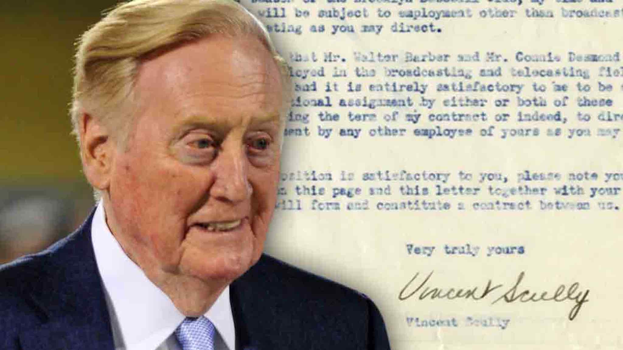 Vin Scully's 1st Dodgers Contract Hits Auction, Only Paid $100 A Week