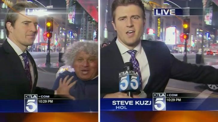 L A  News Reporter -- Shoves Guy Hard During Live Shot, But