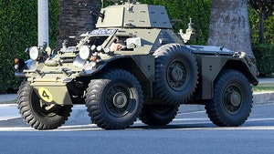 Jay Leno Drives a Tank in Los Angeles