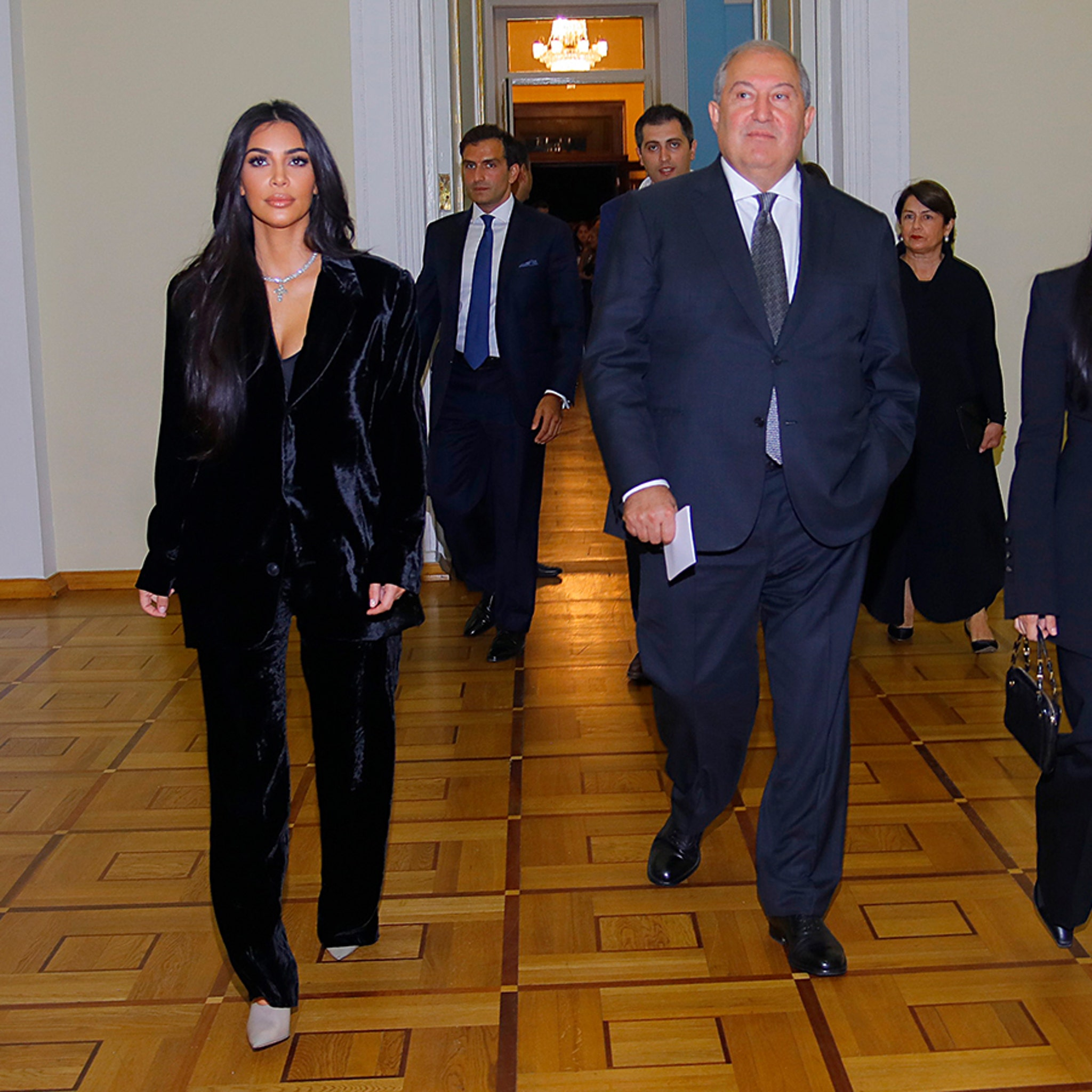Kim and Kourtney Kardashian Break Bread with President of Armenia