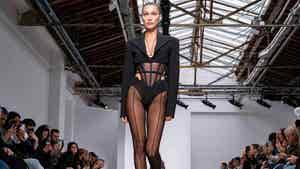 Bella Hadid Struts Paris Runway in Lingerie with Butt Cutouts