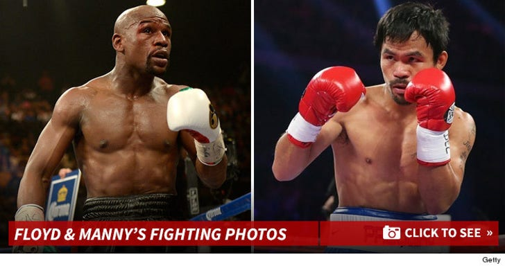 Floyd Mayweather & Manny Pacquiao's Fighting Photos