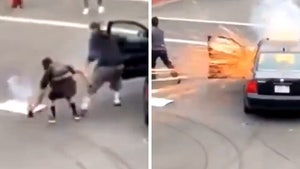 Car Goes Up in Smoke When Peaceful Protester Tosses Back Agitator's Firework