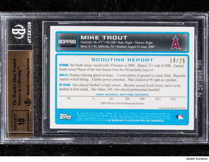 Mike Trout Signed Rookie Card Fetches 186000 At Auction