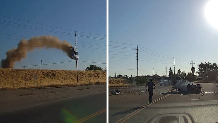 Wild Crash Video of Car Flying Over CA Highway, Smashes Down But Driver Lives.jpg