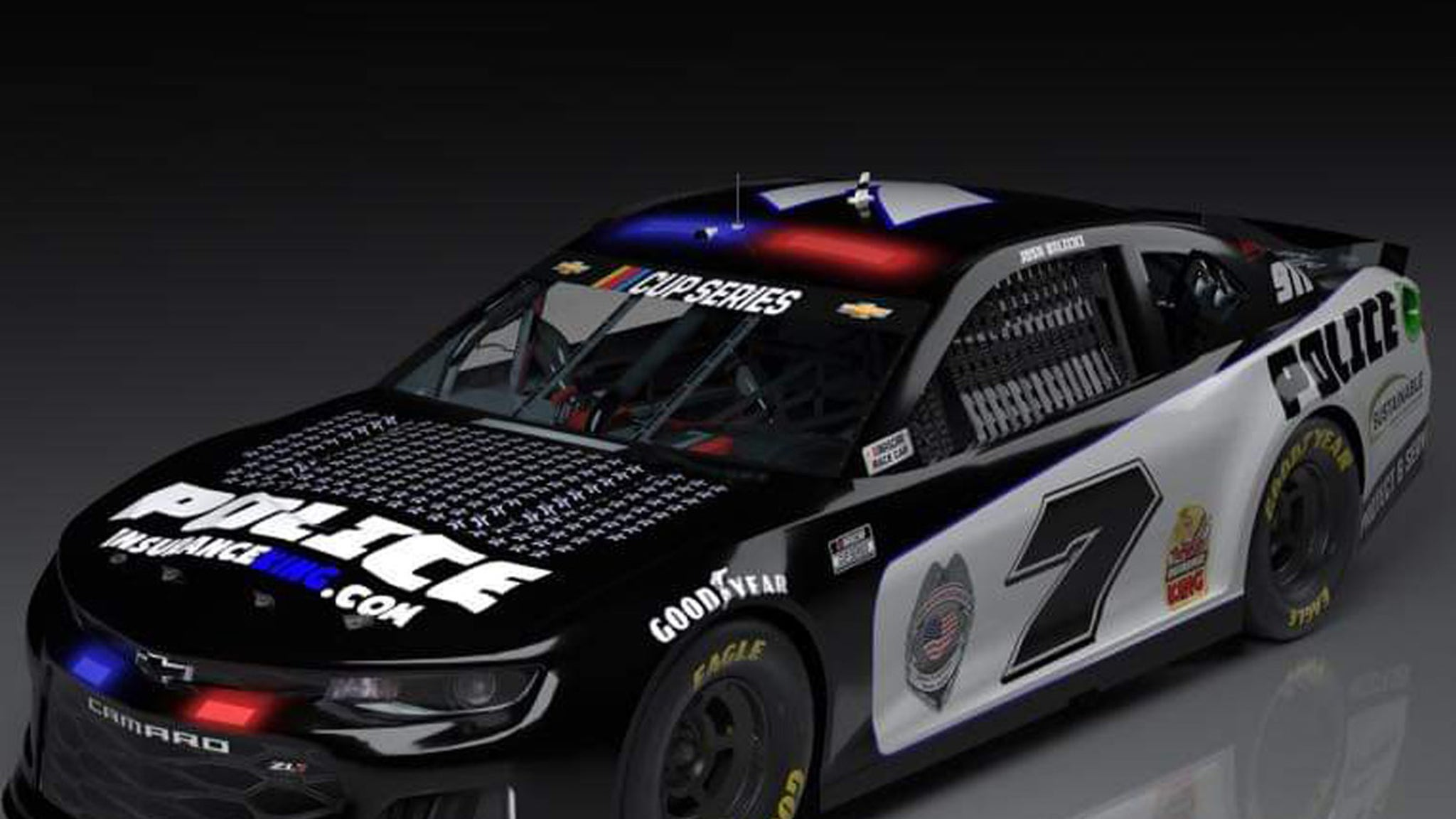 NASCAR's Josh Bilicki Honors Fallen Cops With Police Car Paint Job for Big Race
