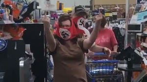 Angry Confrontation Over Couple Wearing Swastika Masks at Walmart