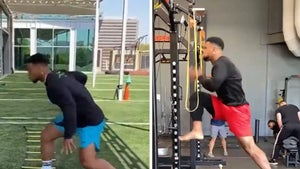 Saquon Barkley Crushes Workout 6 Months After ACL Surgery, Jumps Off Injured Knee!