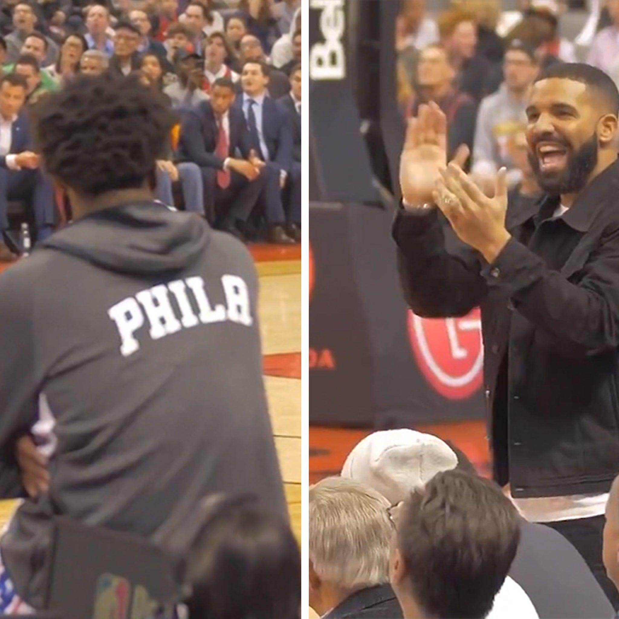 Drake Trolls Joel Embiid at Raptors Game, Flashes Huge Championship Ring
