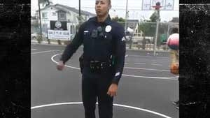 LAPD Cop Hits Awesome Trick Basketball Shot, Kids Go Crazy!