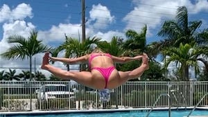 Paige VanZant Toe Touches Into Pool In Hot Pink Bikini, Sun's Out, Bun's Out!