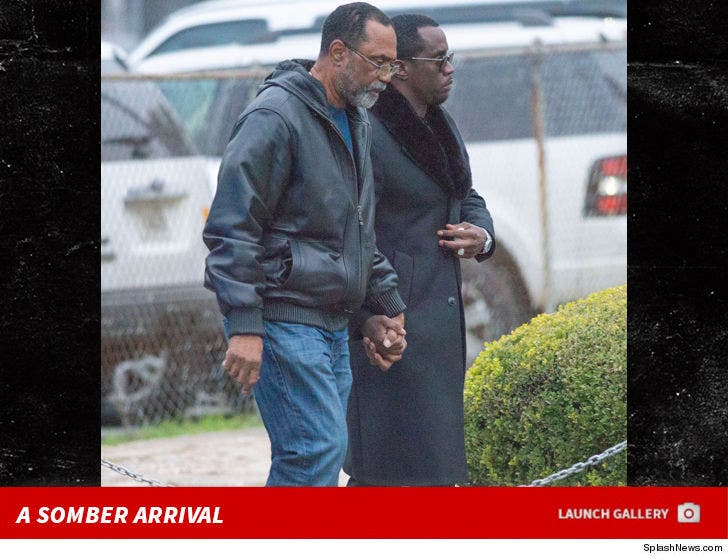 Diddy Arriving to Kim Porter Service