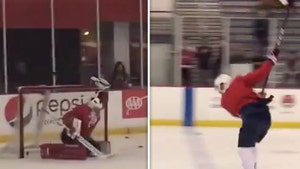 MLB's Ryan Zimmerman Plays Goalie For Capitals, Saves Ovechkin Slapshot!