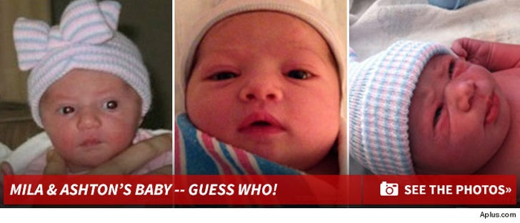 Ashton and Mila's Baby - Guess Who?