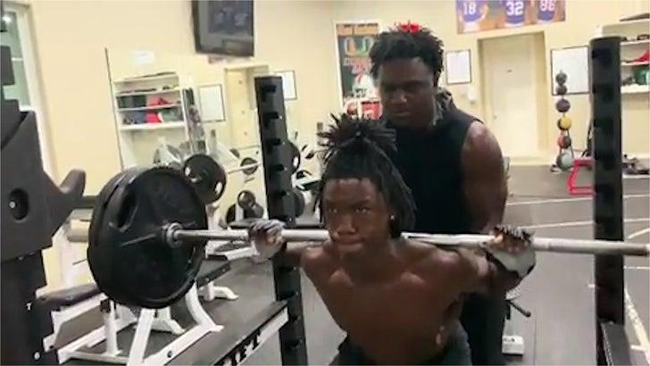 Edgerrin James Training 8th Grade Son To Be A Beast, Pumping Serious Iron!