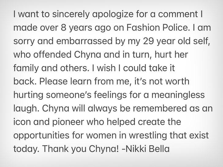 Bella Twins' apology to Chyna