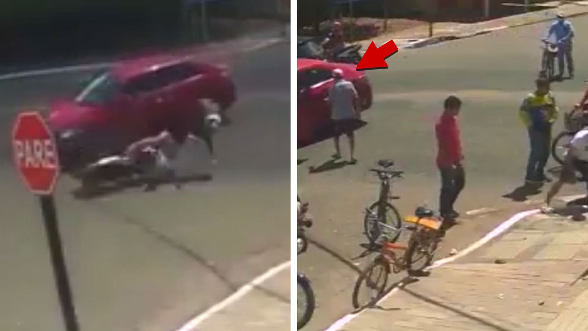 Bizarre Accident Car Hits Moped ... Rider Ricochets into Storm Drain!!!