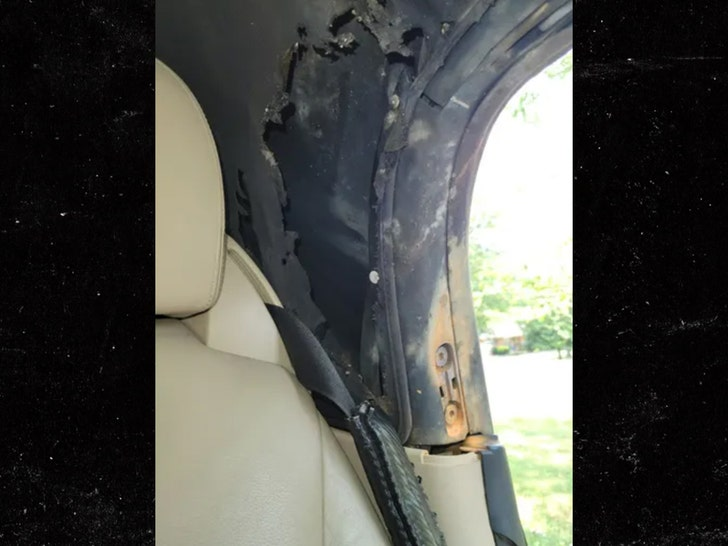 lit firework tossed into convertible